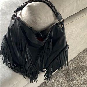 Black Leather Fringe Purse